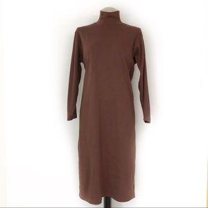 Vintage J. Crew Turtleneck Knit Dress Brown Sz XL